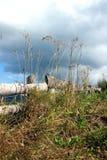 Trästaket och ogräs lantlig liggande Arkivfoton