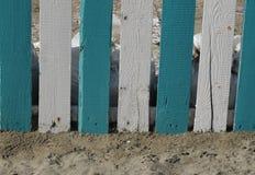 Trästaketblått och vit Fotografering för Bildbyråer