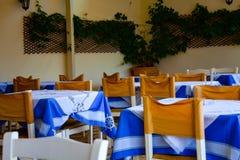 Trästolar och tabeller med den blåa tabelltorkduken Tom restaurang med växter på väggen royaltyfri foto