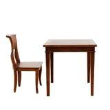 Trästolen och bordlägger isolerat Arkivbild