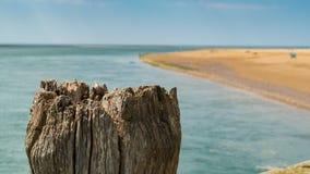 Trästolpe med stranden i bakgrunden, Wales, UK Arkivbilder