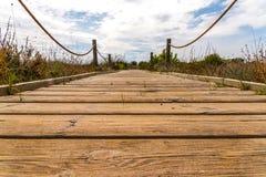 Trästrandpromenad i dyerna som leder till den sandiga stranden, PA Arkivbild