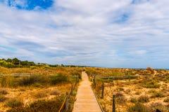 Trästrandpromenad i dyerna som leder till den sandiga stranden, PA Arkivfoton