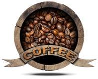 Träsymbol med kaffebönor Arkivbilder