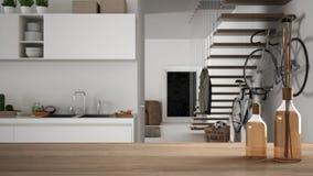Trätabellöverkant eller hylla med aromatiska pinneflaskor över suddigt modernt kök och vardagsrum med trappa och cykeln, vit båge stock illustrationer