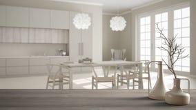 Trätabellöverkant eller hylla med minimalistic moderna vaser över suddigt klassiskt vitt kök med att äta middag tabellen, vit inr stock illustrationer