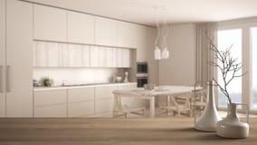 Trätabellöverkant eller hylla med minimalistic moderna vaser över suddigt minimalist klassiskt kök, vit inre arkivfoto