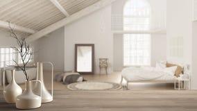 Trätabellöverkant eller hylla med minimalistic moderna vaser över suddigt scandinavian klassiskt sovrum med badkaret, vit inre royaltyfri fotografi