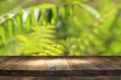 trätabell framme av tropisk grön blom- bakgrund för produktskärm och presentation royaltyfri foto