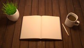 Trätabell med anteckningsboken, pennan, kaffe och blomkrukan Fotografering för Bildbyråer