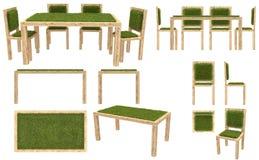 Trätabell och stolar med gräsräkningen Trädgårds- möblemang Bästa sikt, sidosikt, främre sikt bakgrund isolerad white Arkivbild