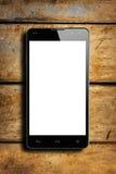 Trätabell Smartphone för Frontal vit skärm Royaltyfria Foton