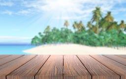 trätabell som 3D ut ser till en tropisk ö i havet Royaltyfri Bild