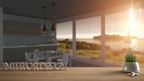 Trätabellen, skrivbordet eller hyllan med den inlagda gräsväxten, hustangenter och 3D märker framställning av ordinredesignen, öv Royaltyfria Bilder
