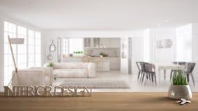 Trätabellen, skrivbordet eller hyllan med den inlagda gräsväxten, hustangenter och 3D märker framställning av ordinredesignen, öv Royaltyfri Fotografi