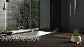 Trätabellen, skrivbordet eller hyllan med den inlagda gräsväxten, hustangenter och 3D märker framställning av ordinredesignen, öv Royaltyfri Bild