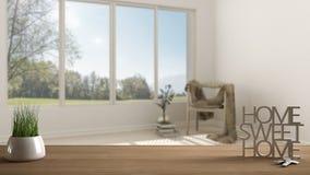 Trätabellen, skrivbordet eller hyllan med den inlagda gräsväxten, hustangenter och 3D märker framställning orden av det hem- söts Royaltyfria Foton
