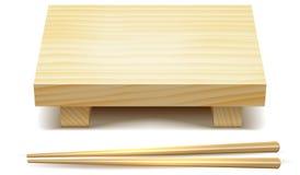 Trätabellställning och rullar för tom sushi Illustration för vektorgemkonst Royaltyfri Foto