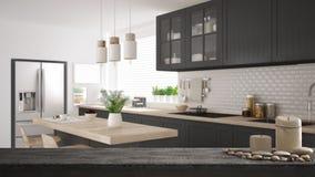 Trätappningtabellöverkant eller hylla med stearinljus och kiselstenar, zenlynne, över scandinavian grått kök med trädetaljer som  stock illustrationer