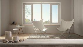 Trätappningtabellöverkant eller hylla med stearinljus och kiselstenar, zenlynne, över suddig tom minimalist vit vardagsrum med pa vektor illustrationer