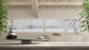 Trätappningtabell eller hylla med stenjämvikt, över suddigt scandinavian badrum med det panorama- fönstret, fengshui, zenbegrepp arkivbilder
