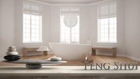 Trätappningtabellhylla med stenjämvikt och bokstäver som 3d gör ordfengshuien över hotellbrunnsortbadrum med badkaret, zen c arkivfoto
