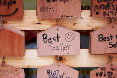 Trätecken för bästa säljare arkivbild