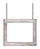 Trätecken som hänger på en kedja som isoleras på vit Royaltyfri Fotografi