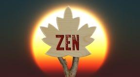 trätecken som indikerar zen Royaltyfri Foto
