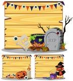 Trätecken tre med det halloween temat royaltyfri illustrationer