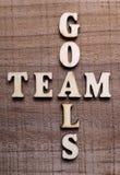 Trätext Team Goals Arkivbild
