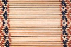Trätextur i horisontalmodeller med vävt garn på bakgrund, hantverk arkivfoto