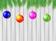 Trätextur med filialerna av julträdet och decoratioen stock illustrationer