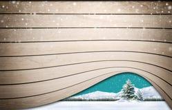 Trätextur med snö Arkivfoton