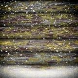 Trätexturbakgrund i snö Royaltyfri Bild