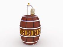 Trätrumman med öl, öl rånar exponeringsglas kärnar ur Royaltyfria Foton