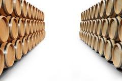 trätrummavin för illustration som 3D isoleras på vit bakgrund Alkoholdryck i trätrummor, liksom vin Royaltyfri Bild