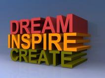 Träumen Sie, spornen Sie an, schaffen Sie stock abbildung