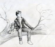 Träumer auf dem Baum Stockbild