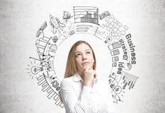 Träumerische Geschäftsfrau, Unternehmensplan Stockbild