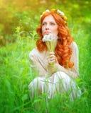 Träumerisches Mädchen mit einem Löwenzahnblumenstrauß Stockbilder