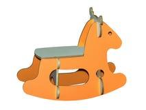 Träungar som vaggar den isolerade hästleksaken Arkivbild