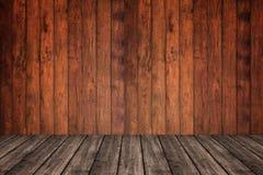 Trävägg och golv i perspektivsikten, grungebakgrund E royaltyfria bilder
