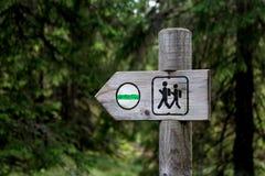 Trävända mot för riktningstecken som lämnas i den djupa skogen Royaltyfri Bild