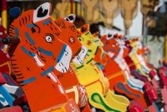 Trävagga hästleksak Fotografering för Bildbyråer