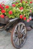 Trävagn med blommor Arkivbilder