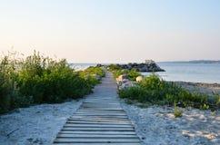Trävandringsled på stranden Royaltyfri Fotografi
