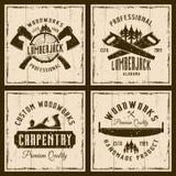 Träverk och snickeri fyra färgade retro emblem Royaltyfri Illustrationer