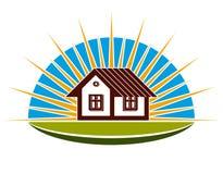 träverkligt litet tema för bakgrundsgodshus Illustration av ett hus på solnedgångbakgrund Royaltyfri Bild