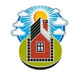 träverkligt litet tema för bakgrundsgodshus Illustration av huset på solnedgångbakgrund Arkivbild